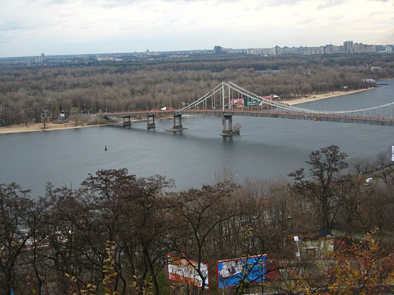 After visiting the hostel and picking up the rest of our group who had decided to nap we went out again to see the city. This is the southern side of the park from earlier with another bridge over the Dnieper.