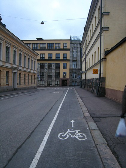 Helsinki is a bike friendly city. No really, they have elevated bike lanes on the busy streets to separate the cars even moreso from the bikes.