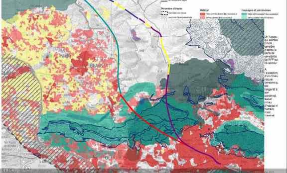 Trace probable de la future Ligne Nouvelle / LGV paca dans le secteur de Le Beausset