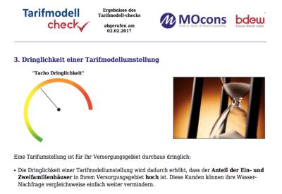 Eine Ergebnisseite des Tarifmodell-Checks (Beispielswerte)