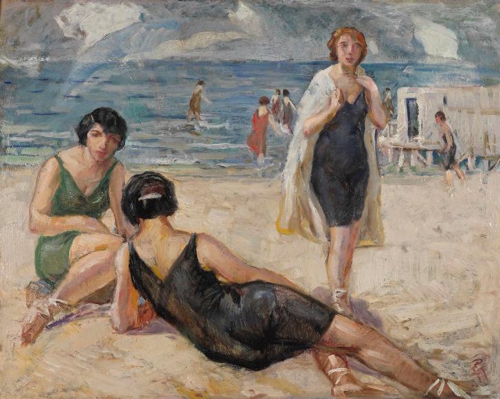 İbrahim Çallı Plajda Kadınlar tablosu  Ünlü Türk Ressam İbrahim Çallı'nın 15 Önemli Tablosu ibrahim calli Plajda Kad C4 B1nlar