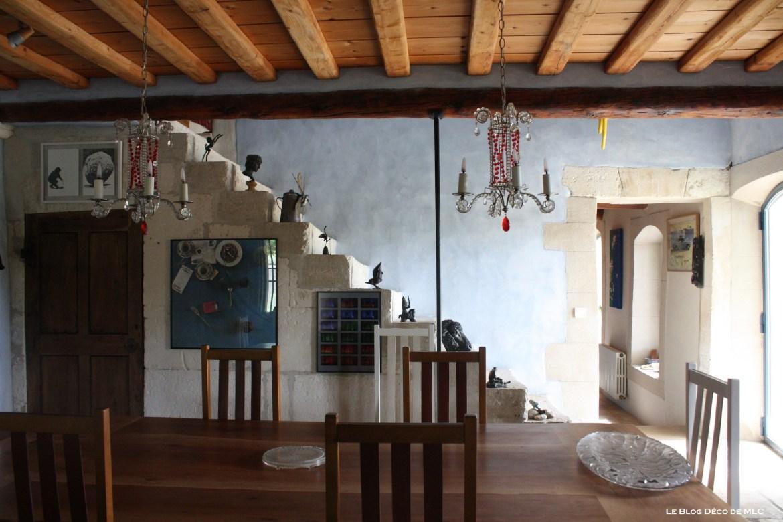 Art-contemporain-déco-salle-a-manger-bleue