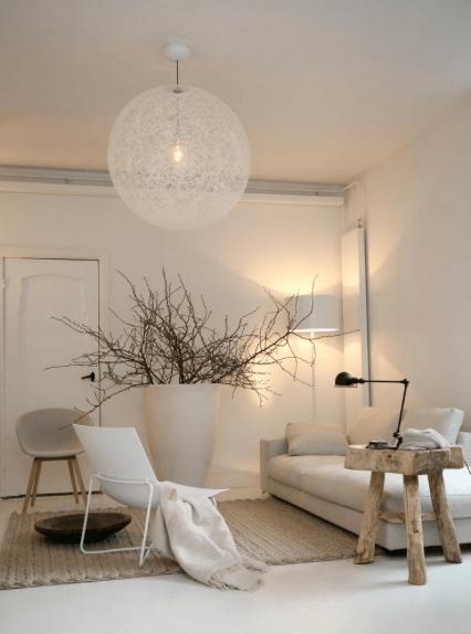 suspension luminaire boule blanche