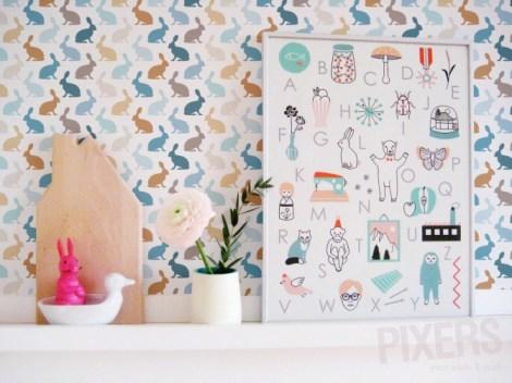 deco-chambre-bebe-papier-peint-enfant-lapin