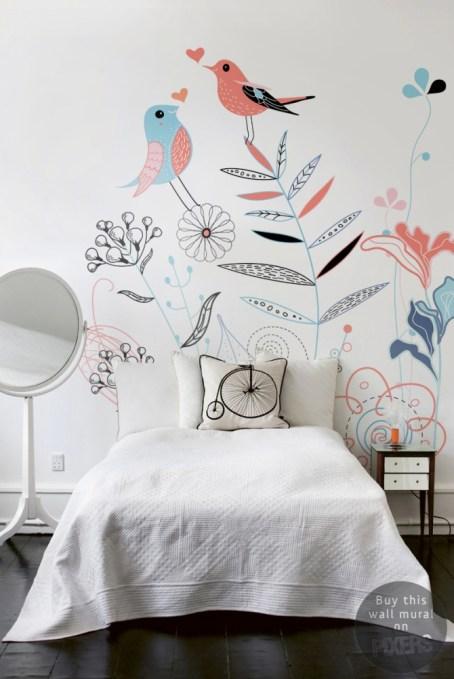 deco-chambre-fille-papier-peint-fleurs et oiseaux