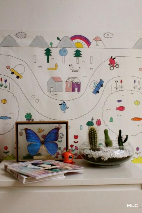 papier-peint-enfant-coloriage-chevet 2