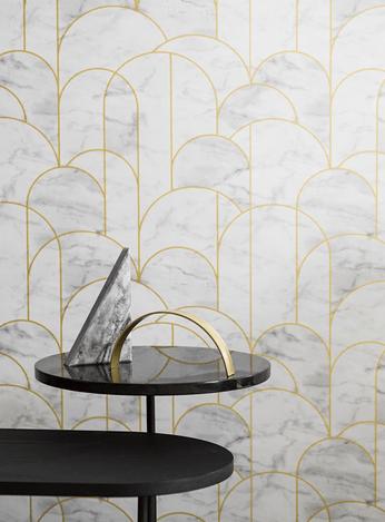 papier peint arche laiton et marbre deco design