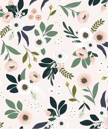 joli papier peint fleuri deco chambre fille