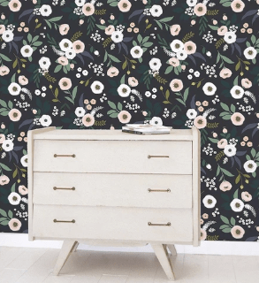 papier peint fleuri collection lilipinso noir