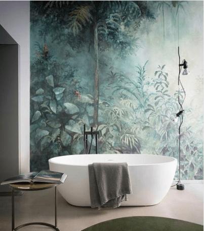 papier-peint-salle-de-bain-tropical-baignoire