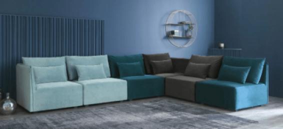 canapé modulable angle bleu maison du monde