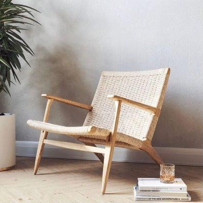 fauteuil-salon-vintage-lounge-bois-et-rotin-carl-hansen