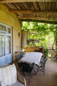 Table and chairs in a veranda
