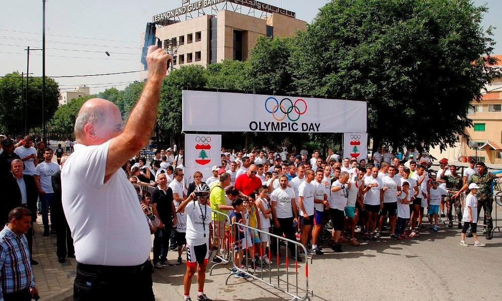 """أقيم برعاية ماكدونالدز وبالتعاون مع بلدية زحلة حيدر ألقى كلمة باخ في إحتفالية """" اليوم الأولمبي """" سباق في الركض ونشاطات وعروض رياضية"""