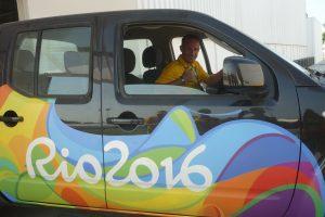 Nicolas Muller au volant pour transporter du matériel