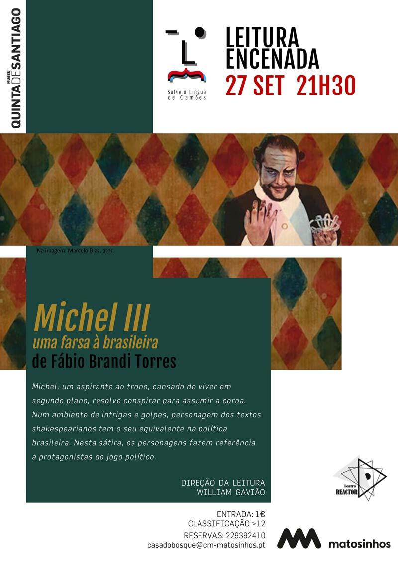 "Cartaz ""Michel III, uma farsa à brasileira"""