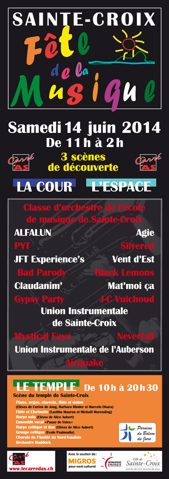 Affiche Fête de la Musique 2014 à Sainte-Croix