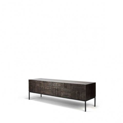 meuble tv ancestors tabwa d ethnicraft l 160 cm 1 tiroir 1 porte rabattable noir