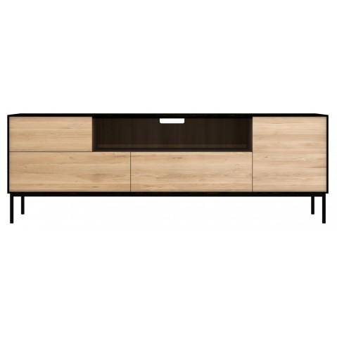 meuble tv blackbird d ethnicraft 1 porte 1 porte battante 2 tiroirs chene et noir