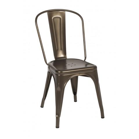 chaise a de tolix acier bronze