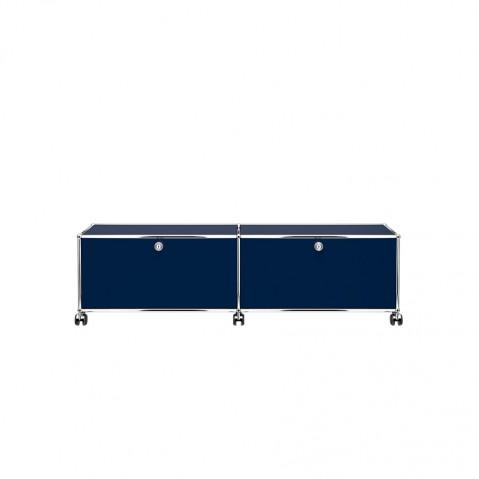 meuble de rangement bas usm haller m23 avec roulettes bleu acier