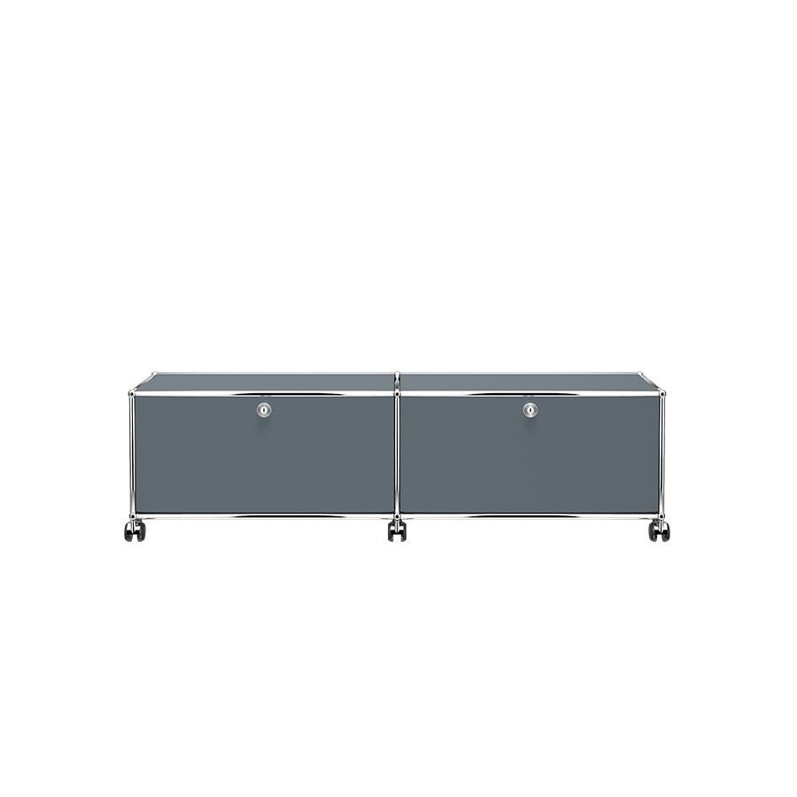 meuble de rangement bas usm haller m23 avec roulettes gris moyen