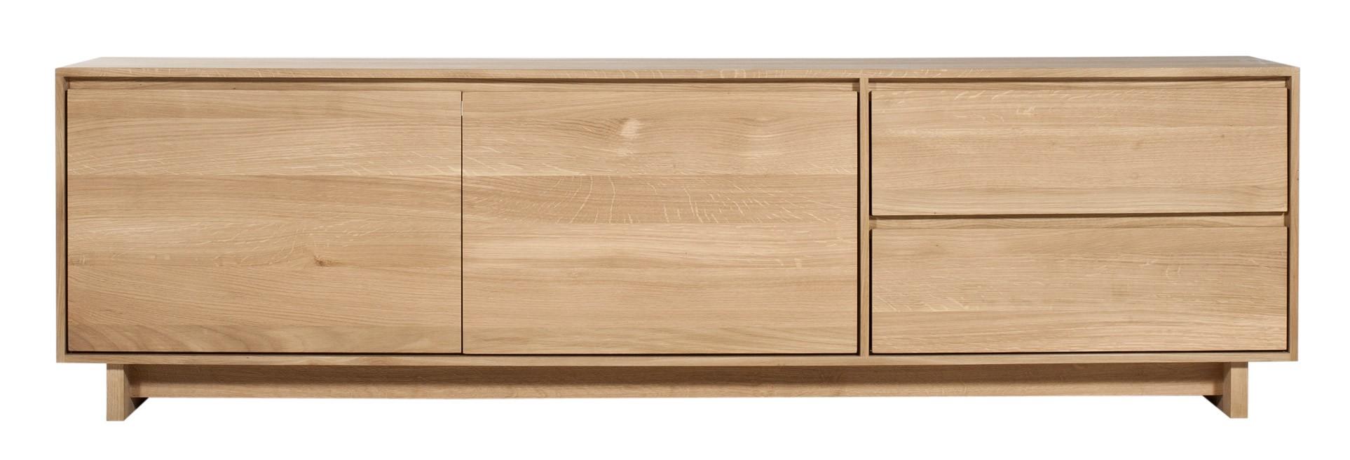 meuble tv wave d ethnicraft 2 portes 1 porte abattante 1 tiroir chene