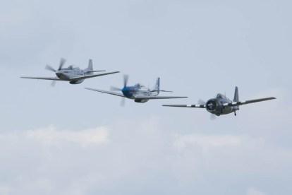 North American P-51D Mustang F-AZXS, TF-51 D-FTSI & Grumman FM-2 Wildcat G-RUMW 02 Flying Legends 2015