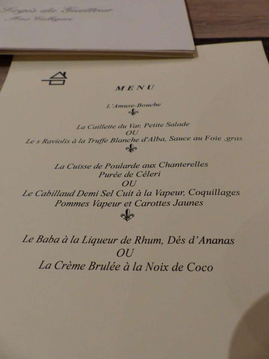 Découverte du menu du Logis ...