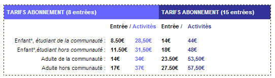 Tarifs Piscine 2013