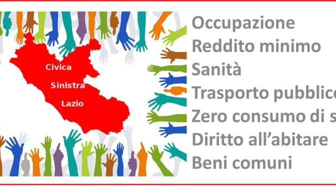 Per un programma civico e di sinistra per le prossime elezioni regionali del Lazio