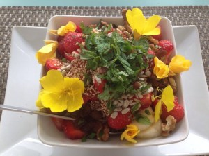 Basenmüsli mit Himbeeren, Erdbeeren und Minze