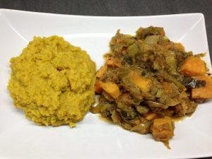 Süßkartoffel Lauch Gemüse mit Mango