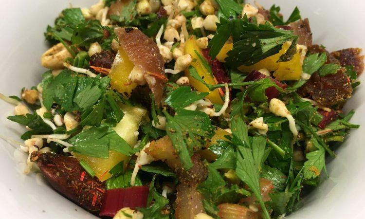 Buchweizen Taboulé mit Aprikosen und Mandeln