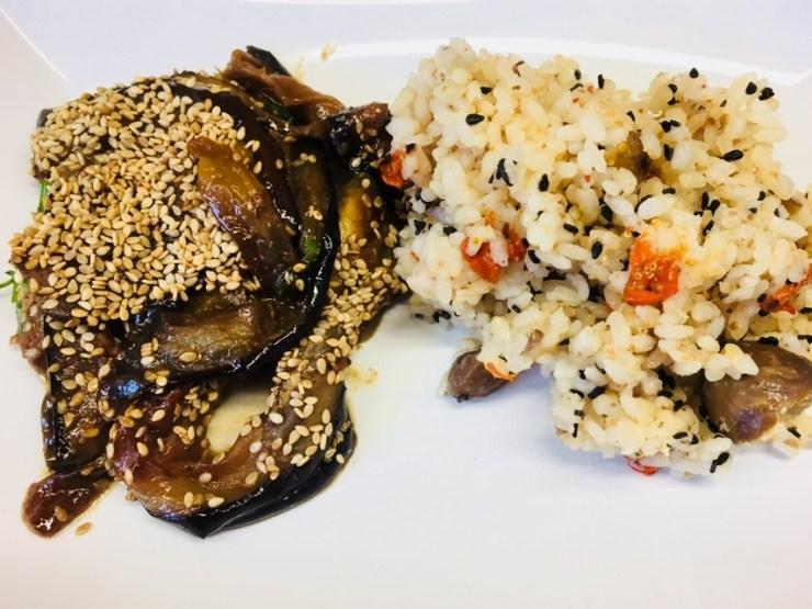 Geröstete Auberginen mit Miso Marinade und Maronen Reis (Kuri Gohan)