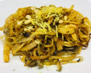 Steckrüben Spaghetti Aglio, Olio e Peperocino