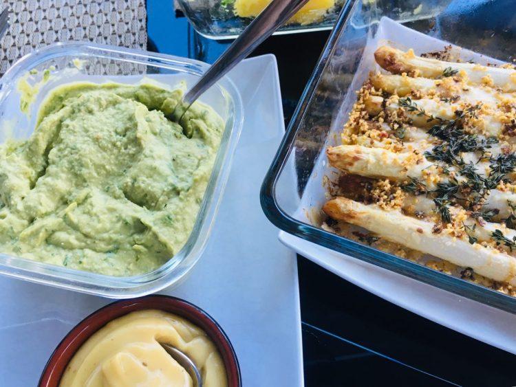 Gratinierter Spargel mit Trüffel Aioli und Bärlauch Hummus