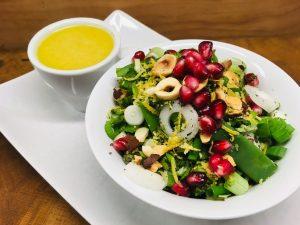 Bohnen Zuckerschoten Salat mit Leinöl Balsamico Dressing