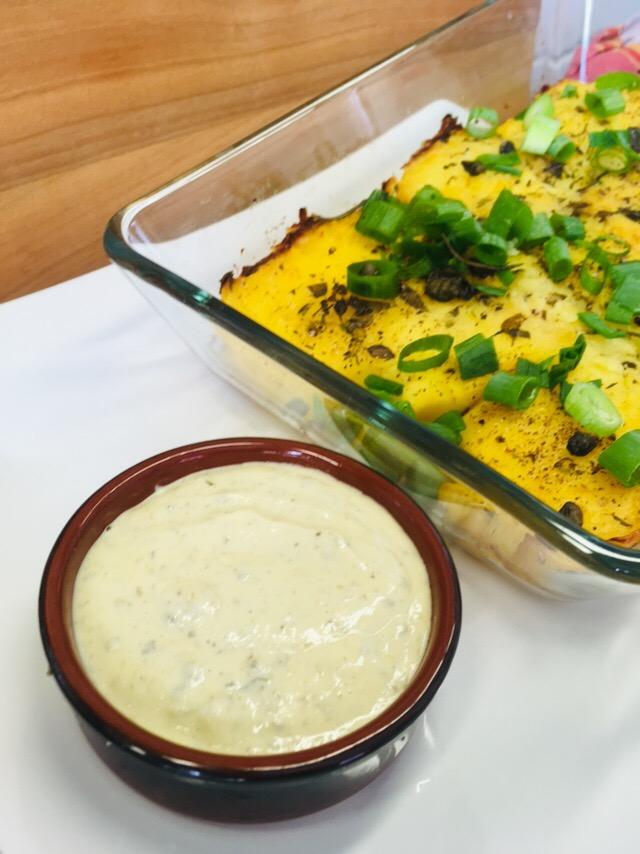 Knuspriger Kartoffel Püree mit Cashew Kapern Aioli