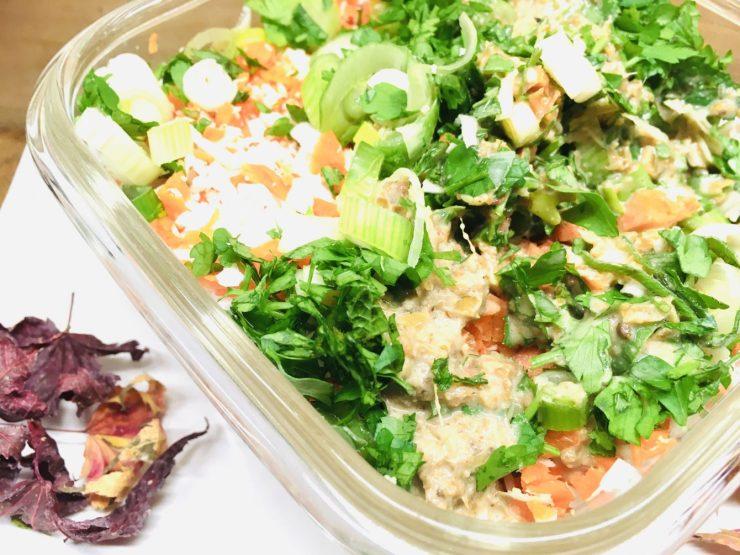 Karotten Kokos Salat mit Erdnuss Dressing