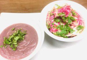 Farbenfrohes aus Gemüse: Lila Kartoffel Pastinaken Suppe und Ringel Bete Salat