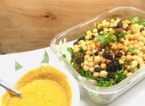 Kichererbsen Salat mit Rosinen und Aprikosen