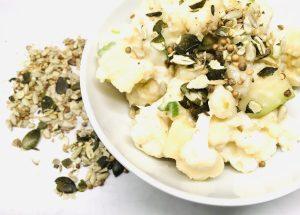 Blumenkohl Birnen Salat mit Birnen Miso Dressing