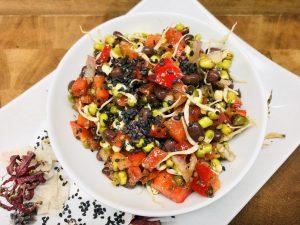 Adzuki Bohnen Salat mit Paprika und Mungo Sprossen