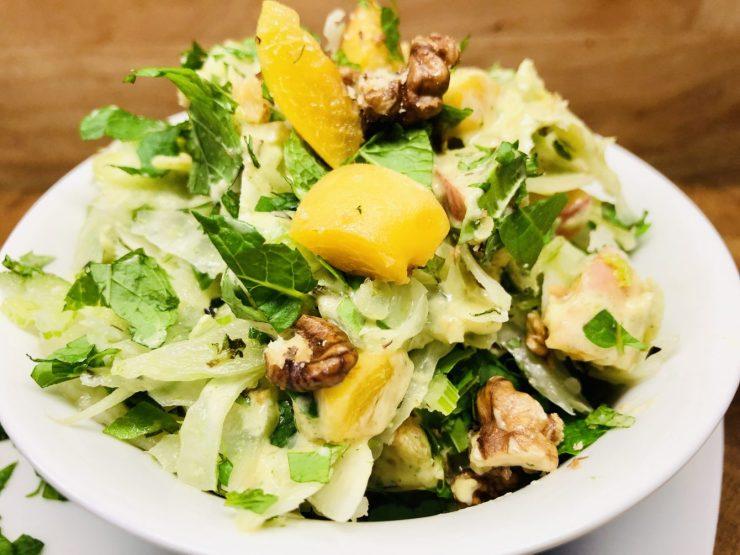 Aprikosen Fenchel Salat mit Aprikosen Minze Dressing