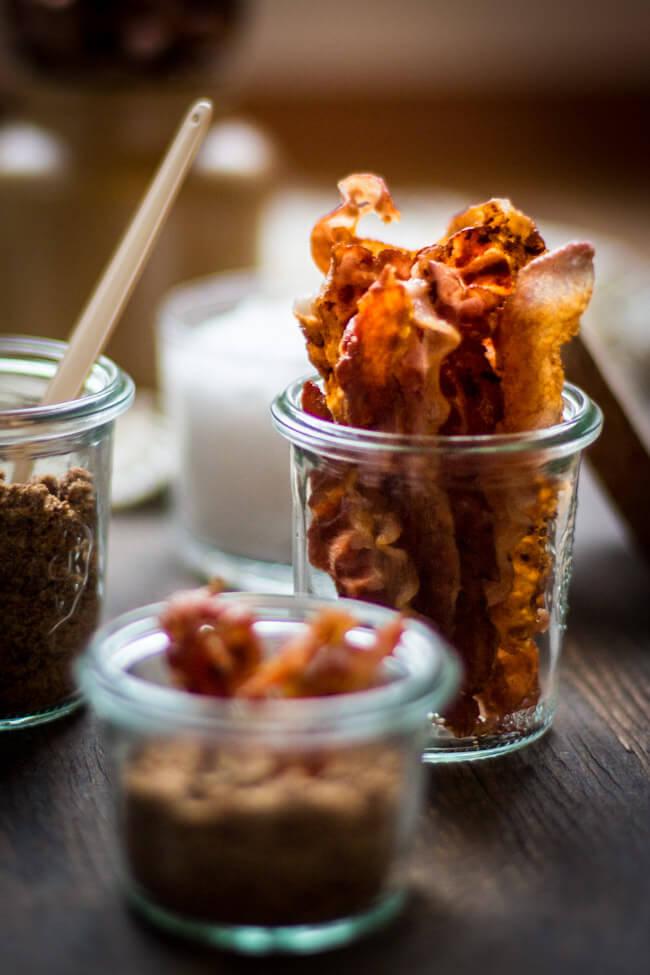gebratener Speck - Bacon in hohem WEckglas