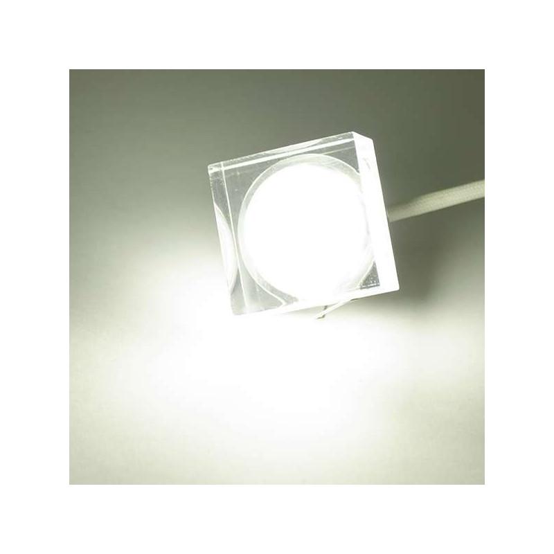 spot led encastrable 1w cristal carre blanc chaud 2700k