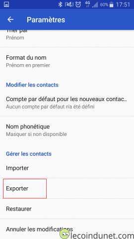 Android Google Contact - Exporter des contacts