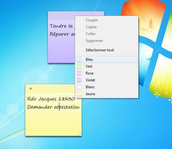 choix-coloris-post-it windows 7