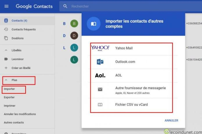 Google Contacts - Importer des contacts